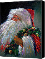 Santa Claus Canvas Prints - SANTA CLAUS with Sleigh Bells and Wreath  Canvas Print by Shelley Schoenherr