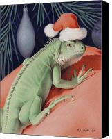 Animal Drawings Canvas Prints - Santa Claws - Bob the Lizard Canvas Print by Amy S Turner
