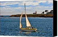 Sail Boat Canvas Prints - Santa Cruz Mark Abbott Memorial Lighthouse CA  Canvas Print by Christine Till