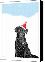 Father Christmas Canvas Prints - Santa Dog in the Snow Canvas Print by Mal Bray
