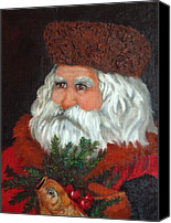 Christmas Canvas Prints - Santa Canvas Print by Enzie Shahmiri