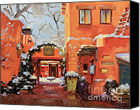 Ristra Canvas Prints - Santa Fe Cafe Canvas Print by Gary Kim