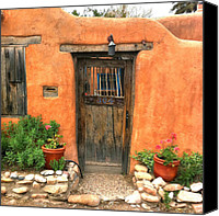 Santa Fe Canvas Prints - Santa Fe Door Canvas Print by Matt Suess