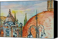 Rome Mixed Media Canvas Prints - Santa Maria del Populo Rooftops Canvas Print by Mindy Newman