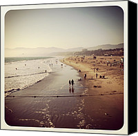 Beach Canvas Prints - Santa Monica Beach Canvas Print by Luisa Azzolini