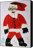 Santa Claus Drawings Canvas Prints - Santa Red by MCW Canvas Print by Mary Carol Williams