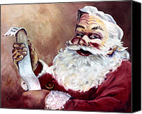Santa Canvas Prints - Santa with a List Canvas Print by Sheila Kinsey