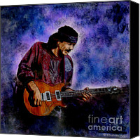 Music Glass Art Canvas Prints - Santana Canvas Print by Betta Artusi