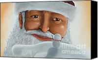 Glove Mixed Media Canvas Prints - Santas helping hand Canvas Print by Michel Le