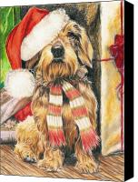 Hound Drawings Canvas Prints - Santas Little Yelper Canvas Print by Barbara Keith