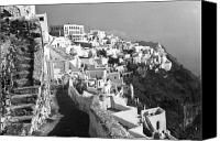 Thira Canvas Prints - Santorini - Greece Canvas Print by John Battaglino