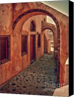 Archways Canvas Prints - Santorini Courtyard Canvas Print by Sandra Bronstein