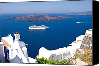 Cruise Photo Canvas Prints - Santorini Cruising Canvas Print by Meirion Matthias