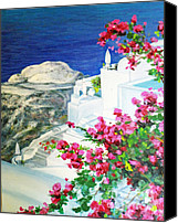 Diane Hewitt Canvas Prints - Santorini Flowers Canvas Print by Diane Hewitt