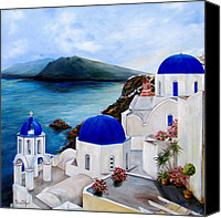 Greece Painting Canvas Prints - Santorini Canvas Print by Patricia DeHart