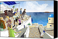 Party Digital Art Canvas Prints - Santorini Rooftop  Canvas Print by Sean Hagan