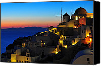 Greece Canvas Prints - Santorini Sunset Canvas Print by Ian Stotesbury