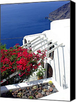 Thira Canvas Prints - Santorini Villa  Canvas Print by Julie Palencia