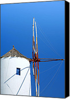 Thira Canvas Prints - Santorini windmill Canvas Print by Paul Cowan