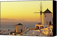 Greece Canvas Prints - Santorini Windmills At Sunset Canvas Print by P!xntxt