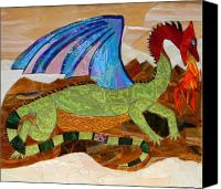 Mosaic Glass Art Canvas Prints - Sapphire The Magic Dragon Canvas Print by Charles McDonell