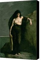 Breasts Canvas Prints - Sappho Canvas Print by Charles Auguste Mengin