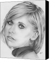 Michelle Drawings Canvas Prints - Sarah Michelle Gellar Canvas Print by Carl Moore