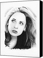 Michelle Drawings Canvas Prints - Sarah Michelle Gellar Canvas Print by Rosalinda Markle