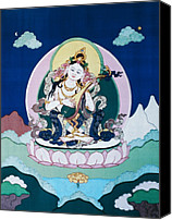 Thangka Canvas Prints - Saraswati Canvas Print by Leslie Rinchen-Wongmo