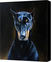 Dobermann Canvas Prints - Sarge Canvas Print by Arie Van der Wijst