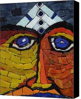 Unique Glass Art Canvas Prints - Sarjit - Fantasy Face No.3 Canvas Print by Gila Rayberg