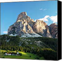 Tree Canvas Prints - Sassongher At Sunrise, Alta Badia Canvas Print by Matteo Colombo