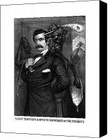 Abe Lincoln Drawings Canvas Prints - Satan Tempting John Wilkes Booth Canvas Print by War Is Hell Store