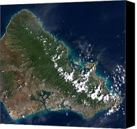 Honolulu Photo Canvas Prints - Satellite View Of Honolulu, Oahu Canvas Print by Stocktrek Images