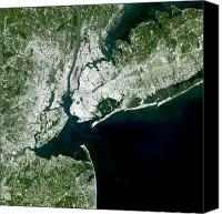 Manhattan Map Canvas Prints - Satellite View Of New York City Canvas Print by Stocktrek Images