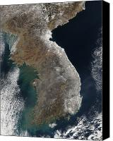 Land Feature Canvas Prints - Satellite View Of Snowfall Along South Canvas Print by Stocktrek Images
