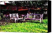 Park Benches Digital Art Canvas Prints - Saturday In the Park Canvas Print by Bill Cannon