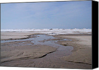 Beach Canvas Prints - Sauble Sand and Ice Canvas Print by Merv Scoble