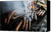 Barbecue Canvas Prints - Sausages cooking on barbecue Canvas Print by Sami Sarkis