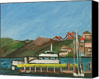 Sausalito Painting Canvas Prints - Sausalito Ferry Canvas Print by Kyle McGuigan
