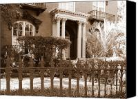 Fences Canvas Prints - Savannah Sepia - Mercer House Canvas Print by Carol Groenen