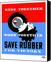Works Canvas Prints - Save Rubber For Victory Canvas Print by War Is Hell Store