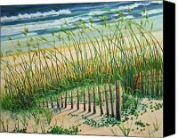 Sand Fences Canvas Prints - Saving the Dunes Canvas Print by Cathy Harville