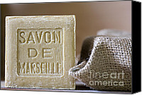 Bath Canvas Prints - Savon de Marseille Canvas Print by Frank Tschakert