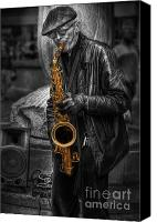 Selective Color Canvas Prints - Sax Love Canvas Print by Yhun Suarez