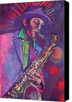 Saxaphone Painting Canvas Prints - Sax man Canvas Print by Chuck Creasy