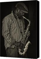 Performer Canvas Prints - Sax Player Canvas Print by Robert Ullmann
