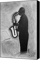 Miguel Rodriguez Canvas Prints - Sax Player Silhouette Canvas Print by Miguel Rodriguez