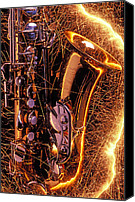 Brass Canvas Prints - Sax with sparks Canvas Print by Garry Gay
