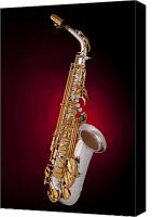 Canvas Wrap Canvas Prints - Saxophone on Red Spotlight Canvas Print by M K  Miller